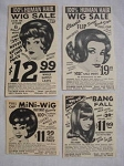 1969 Four Valmor Wig Ads