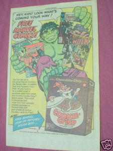 1984 Ad Cookie Crisp Cereal With The Incredible Hulk