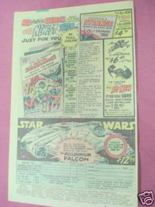 1979 Ad Star Wars Vehicles Millenium Falcon, X-Wing