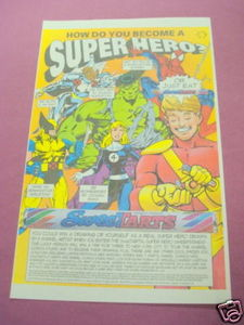 1994 Sweetarts Ad With The Incredible Hulk, Spider-Man