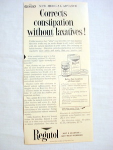 1957 Ad Regutol Corrects Constipation Without Laxatives