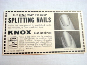 1957 Ad Knox Gelatine, Johnstown, N. Y. Splitting Nails