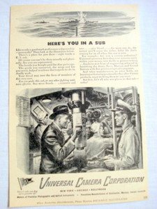 1943 Submarine Ad Universal Camera Corporation