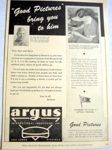 1943 Ad Argus Cameras With World War II Army Letter