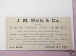 1889 Ad J. M. Wells & Co. Boots, Shoes Greenfield, Mass