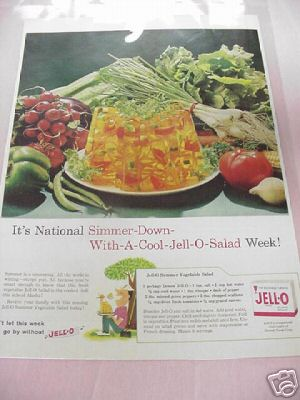 1959 Jell-O Summer Vegetable Salad Ad With Recipe