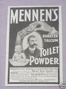 1897 Mennen's Borated Talcum Toilet Powder Ad