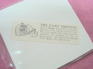 1889 Ad The Fairy Tricycle, Fay Mfg. Co., Elyria, Ohio