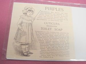 1889 Ad Cuticura Medicated Toilet Soap for Pimples