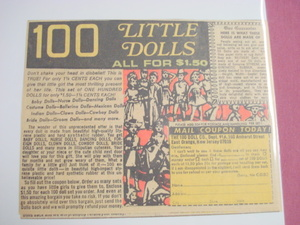 1970's Color Ad 100 Little Dolls All For $1.50