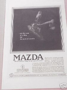 1918 Light Bulbs Ad Mazda Lamps The Mark of Service
