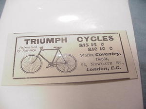 1900 Bicycle Ad Triumph Cyles, London, E.C.