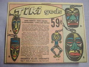 1962 Ad Tiki Gods Metal Jewelry by Greenwich Village Handicrafts