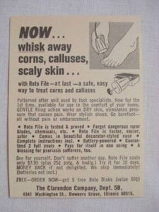 1969 Roto File Ad The Clarendon Company Treats Corns and Calluses