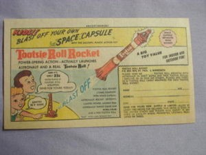 1963 Ad Tootsie Roll Rocket Plastic Action Toy