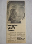 1969 St. Joseph Aspirin For Children Ad Imagine You're Three