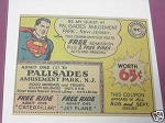 1961 Superman DC Comics Palisades Amusement Park Ad