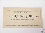 1889 Ad Hovey's Family Drug Store, Greenfield, Mass.