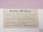 1889 Ad Anson Withey Carriage Mftr., Greenfield, Mass