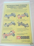 1973 Corgi Ad Introducing Corgi's Formula 1 Racers