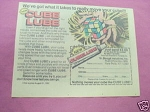 1982 Ad Cube Lube by Bouge' Industries New Paltz, N.Y.