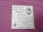 1909 Ad The Gem Hair Tonic Sprayer, Rochester, N. Y.