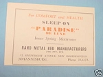 1945 South Africa Ad Rand Metal Bed Manufacturers
