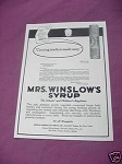1923 Mrs. Winslow's Syrup Ad Cutting Teeth Is Made Easy