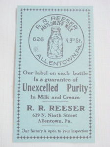 1914 Ad R. R. Reeser Pasteurized Milk, Allentown, Pa.