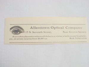 1914 Ad Allentown Optical Company, Allentown, Pa.