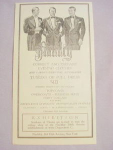1941 Ad Finchley, NYC Correct & Elegant Evening Clothes
