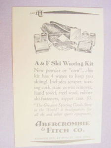 1941 Ad Abercrombie & Fitch Co. A & F Ski Waxing Kit