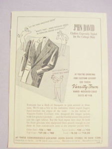1941 Ad John David Clothes Styled For the College Man