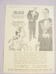 1941 Ad John David Stores Clothes For the College Man