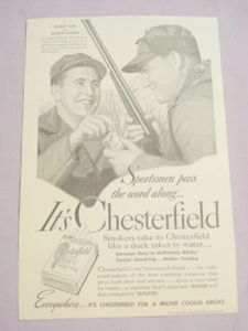 1941 Chesterfield Cigarettes Ad With Johnny Mize