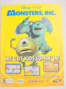 2001 Ad Video Game Disney Pixar Monsters, Inc. by THQ