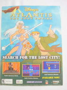 2001 Ad Video Game Disney's Atlantis The Lost Empire