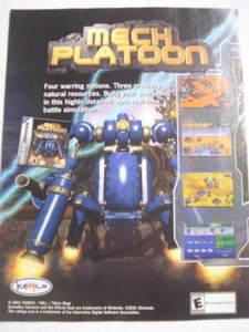 2001 Ad Video Game Mech Platoon by Kemco