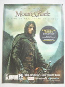 2009 Ad PC Game Mount & Blade Medieval Action RPG
