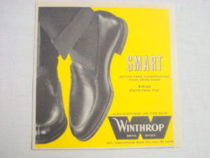 1959 Ad Winthrop Men's Shoes International Shoe Co.