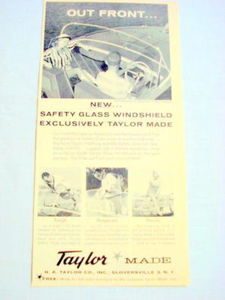 1959 Ad Taylor Safety Glass Windshield For Boats