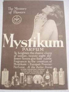 1925 Ad Mystikum Perfume The Mystery of Flowers