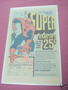 1978 Super Hang Ups Ad Spider-Man, Superman, Batman