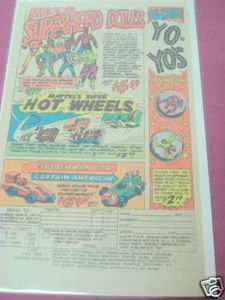 1979 Ad Mego Superhero Dolls, Marvel Mattel Hot Wheels