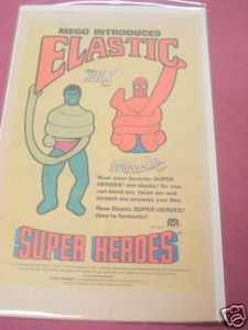 1979 Ad Mego Elastic Super Heroes Hulk and Spider-Man