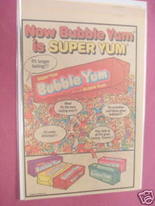 1980 Ad Now Bubble Yum Bubble Gum