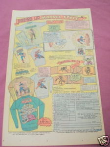 1976 Superheroes Ad Marvel Belts, Pajamas, Sweat-Shirts