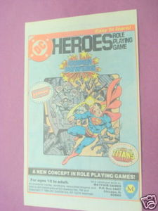 1984 Ad DC HEROES Role Playing Game Mayfair Games