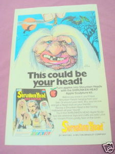 1975 Ad Whiting Shrunken Head Apple Sculpture Kit