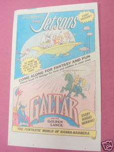 1985 Ad Jetsons & Galtar and the Golden Lance Cartoons